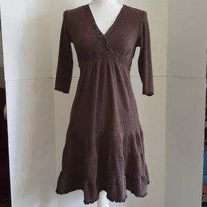 Brown Lace Embroidered Dress 3/4 Sleeve
